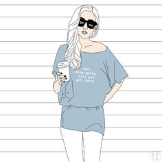 Minimalistic girl illustration / inspirational positive quote
