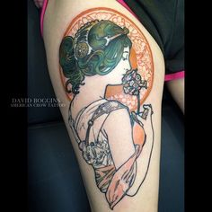 Love the delicate beauty of Art nouveau. Thank you Beth! **New contest** With every tattoo I post, repost and add #davidboggins @davidboggins @americancrowtattoo to be entered to win a Free half day...
