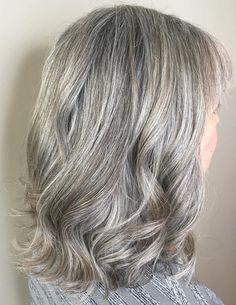 Medium Length Wavy Gray Hairstyle
