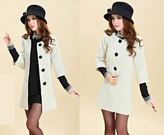 Cheap Winter Women minimalist collar wool coat Korean Slim casual