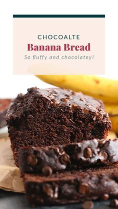 Made with 3 super ripe bananas this chocolate banana bread is so tender, fluffy, and chocolatey! Healthy Dessert Recipes, Cookie Recipes, Delicious Desserts, Snack Recipes, Yummy Food, Breakfast Recipes, Healthier Desserts, Breakfast Ideas, Yummy Treats