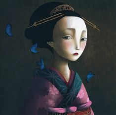"""Rébecca Dautremer: Naoko (Illustration for the book Benjamin Lacombe """"Les amants Papillons""""), 2007 Fantasy Illustration, Character Illustration, Contemporary Artists, Modern Art, Madame Butterfly, Photo D Art, Pop Surrealism, Modern Surrealism, Fan Art"""
