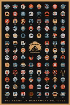 A4 Poster - 100 Years Of Paramount Pictures (Blu-Ray Dvd Movie Film Making Art)