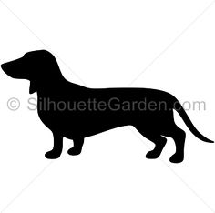 Dachshund silhouette clip art. Download free versions of the image in EPS, JPG, PDF, PNG, and SVG formats at http://silhouettegarden.com/download/dachshund-silhouette/