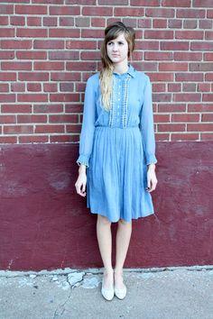 Darling Blue Vintage Dress / Small / Medium