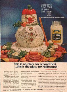 Hellmann's Frosty Slaw Man Salad – A Vintage Christmas Recipe Test - Mid-Century Menu Retro Recipes, Old Recipes, Vintage Recipes, Meal Recipes, Gross Food, Weird Food, 70s Food, Vintage Cooking, Vintage Food