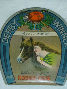 Retro Advertising, Vintage Advertisements, Advertising Signs, Needle Case, Needle Book, Vintage Sewing Notions, Wooden Horse, Vintage Tins, Sewing Crafts