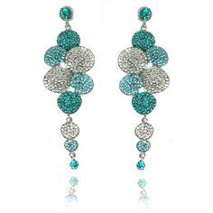 Lemonade Crystal Bubble Dangly Earrings Blue - 4EverBling