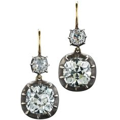 Fred Leighton Old Mine Diamond Double Drop Earrings | From a unique collection of vintage drop earrings at https://www.1stdibs.com/jewelry/earrings/drop-earrings/