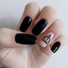 Harry Potter Nails Designs, Harry Potter Nail Art, Cute Summer Nail Designs, Polygel Nails, Fire Nails, Dream Nails, Nail Art Diy, Finger Tattoos, Acrylic Nail Designs