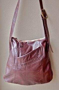 vintage burgundy repurposed leather bag by foundbynicki on Etsy