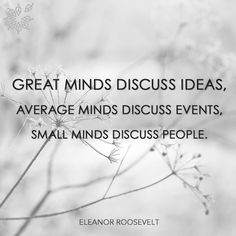 """Great minds discuss ideas, average minds discuss events, small minds discuss people."" - Eleanor Roosevelt"
