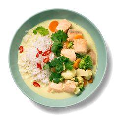 Laks i karri med kokosmelk Hummus, Healthy Recipes, Healthy Food, Ethnic Recipes, Yummy Yummy, Healthy Foods, Healthy Eating Recipes, Healthy Eating, Healthy Food Recipes