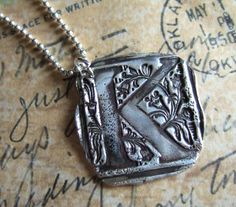 Birthday Gift Jewelry Monogram Necklace Silver by HappyGoLicky, $55.00