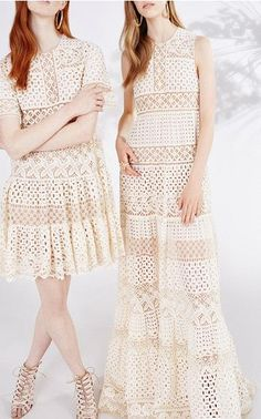 Elie Saab Broderie Anglaise and Guipure Short Sleeve Dress