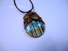 The Birch Grove gold & turquoise polymer clay jewelry resin pendant necklace One of a Kind handmade by LynzCraftz on Etsy
