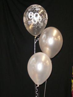 60th DIAMOND WEDDING ANNIVERSARY - 30 HELIUM BALLOONS