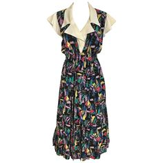 1970s CHLOE Abstract Print Multi Color Print Silk  Dress | From a collection of rare vintage day dresses at https://www.1stdibs.com/fashion/clothing/day-dresses/