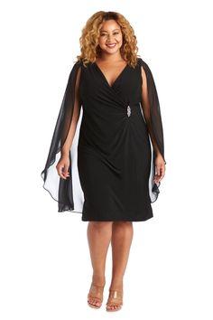 R&M Richards Short Plus Size Cape Dress 5806W   The Dress Outlet Plus Size Short Dresses, Plus Size Cocktail Dresses, Plus Size Dresses, Pageant Dresses, Bride Dresses, Taylor Dress, Cape Dress, Fashion Mask, Groom Dress