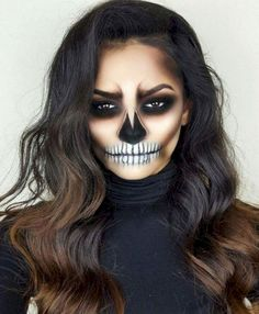 Are you looking for ideas for your Halloween make-up? Browse around this site for cute Halloween makeup looks. Cute Halloween Makeup, Halloween Inspo, Halloween Makeup Looks, Scary Halloween, Skeleton Halloween Costume, Pretty Halloween, Women Halloween, Sugar Skull Halloween Makeup, Halloween Costumes For Brunettes