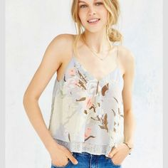 Urban Outfitters Chiffon Cami urban outfitters chiffon floral cami. new with tags. no trades. Urban Outfitters Tops