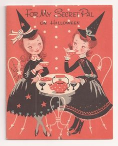 Vintage Halloween witch tea party greeting card by Stanley Art Guild 1950s Halloween, Vintage Halloween Images, Theme Halloween, Vintage Holiday, Holidays Halloween, Spooky Halloween, Halloween Crafts, Halloween Decorations, Happy Halloween