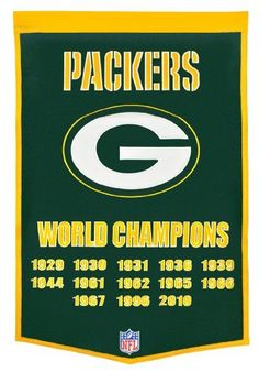 """Green Bay Packers Dynasty Banner by Winning Streak. $49.99. One 38"""" x 24"""" NFL licensed wool banner commemorating the Superbowl Championships.. Genuine wool blend fabric.. A uniquely hand-crafted, vintage style, wool banner featuring intricate embroidery and applique design detail.. NFL Green Bay Packers Dynasty Banner"""