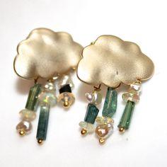 Blue Green Tourmaline Cloud Dangle Earrings Keshi Pearl Ethiopian Opal Gold Vermeil Handmade Gemstone Jewelry