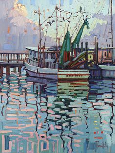 Reflections At Dawn-Rene' Wiley-24x18 inches- Oil on Canvas by Rene' Wiley Gallery ~ 24 x 18