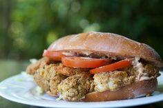 Shrimp Po Boy Sandwich ~ A classic Louisiana po boy sandwich with fried shrimp, shredded lettuce, tomato and homemade remoulade sauce. ~ SimplyRecipes.com