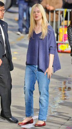 So simple yet so stylish! Elle Fanning street style.