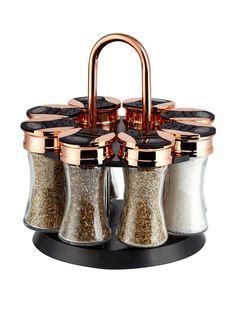 Buy Tower 8 Jar Spice Rack from the Next UK online shop - copper kitchen Kitchen Jars, Kitchen Items, Rose Gold Kitchen Appliances, Kitchen Tools, Kitchen Utensils, Kitchen Cabinets, Black Kitchens, Cool Kitchens, Farmhouse Kitchens