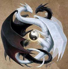 Ying Yang Dragons- I love Arte Yin Yang, Ying Y Yang, Yin Yang Art, Yin Yang Wolf, Mythical Creatures Art, Magical Creatures, Fantasy Creatures, Yin Yang Tattoos, Dragon Yin Yang Tattoo