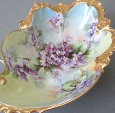 Antique-Limoges-HP-Porcelain-Bowl-DOUBLE-VIOLETS-Ornate-Mold-Lush-GILT-Austria