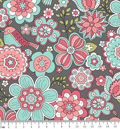 ee5dd50a88 Tecido Tricoline Estampa Floral Fundo Cinza Escuro - Coleção Jardim Secreto  - Preço de 50 cm X 150 cm