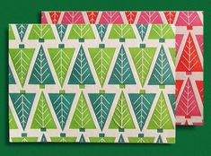 screenprint card trees  { really cute; add touch of flourescent* }