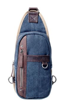 "Linshi Tasks ""Mayport"" Men's Canvas Crossbody Shoulder Sling - Denim Blue"