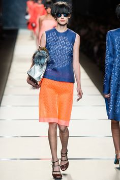 Fendi 2014 Spring/Summer Ready-to-Wear // indigo blue and tangerine orange to go with a Summer spent sipping Mimosas by the Mediterranean sea