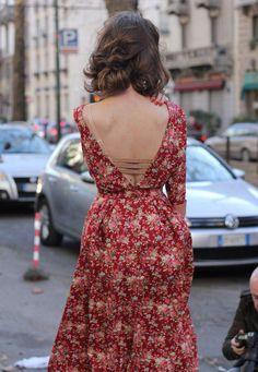 floral dress, open back