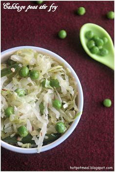 Cabbage peas stir fry