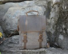 Handmade Leather Canvas Backpack
