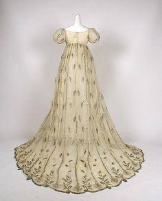 Evening dress Date: 1805–10 Culture: French Medium: cotton, metallic thread Dimensions: Length at CB: 76 1/2 in. (194.3 cm) The  Metropolitan Museum of Art