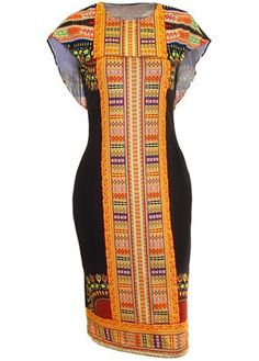 African Print Cape Bodycon Dress