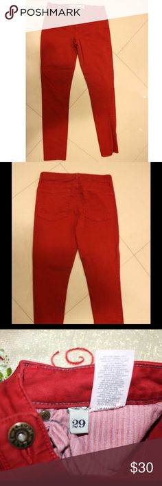 Easy Money Jean Company Skinny Red Jeans Easy Money Jean Company red skinny jeans. Size 29. Only worn twice- item like new. Easy Money Jean Collection Jeans Skinny