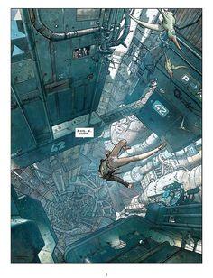 "Illustration by Jean Giraud, ""Moebius"" for ""The final Incal"" Jean Giraud, Sci Fi Environment, Environment Design, Norman Rockwell, Comic Art, Comic Books, Arte Cyberpunk, Cyberpunk City, Bd Comics"