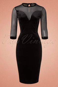 Be irresistible in this 50s Verona Velvet Mesh Pencil Dress!  Verona is vavavoom to the max ;-)The deep, dramatic sweetheart neckline and keyhole at the back create a sassy and sexy look while the transparent mesh adds a mysterious touch, wow!Made from a lovely soft, stretchy, black velvet fabricthat hugs your curves without marking any problem areas and is finished off with velvet trims at the 3/4 transparent sleeves. Match with mysterious black ...