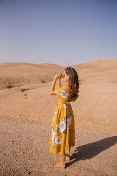 Desert Flower - yellow sun off the shoulder a-line dress with minimal floral design | Morocco