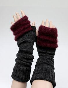 fingerless knitted merino wool mohair silk in grey and by iveta67, $39.00