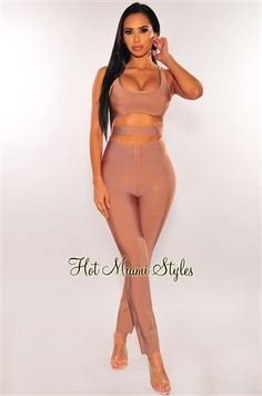 Get ready to slay in this irresistible mocha bandage jumpsuit. Featuring a sexy cut out and underboob design that will make jaws drop. Miami Fashion, New Fashion, Womens Fashion, Fashion Ideas, Palazzo Jumpsuit, Elegant Cocktail Dress, Hot Miami Styles, Black Jumpsuit, Black Sequins