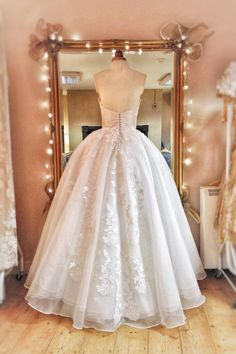 Ivory silk organza and lace fairytale full-skited wedding dress by Joanne Fleming Design